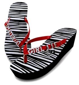 """zebra print platform wedge flip-flops with rhinestones"""